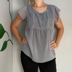 3/20$ Reitmans grey sheer blouse button